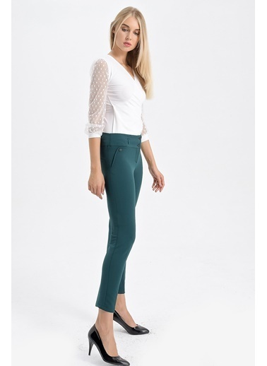 Jument Dream Yüksek Bel Süs Cepli Bilek Boy Pantolon Yeşil